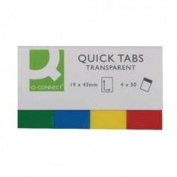 Q-Connect Quick Tabs 20x45 Transp Pk200