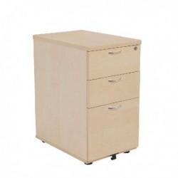 FF Jemini Maple 3 Drw Desk High Ped 600