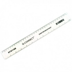 Q-Connect Shatterprf Ruler 30cm Clr Pk10