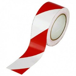 Vinyl White/Red 50mmx33m Hazard Tape Pk6