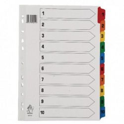 A4 Mylar Index 1-10 Multi-Colour