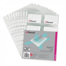 Rexel Nyrex Business Card Pocket A4 Pk10