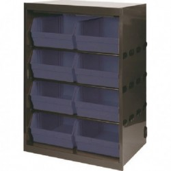 Dk.Grey/Black Metal Bin Cupboard/8 Bins