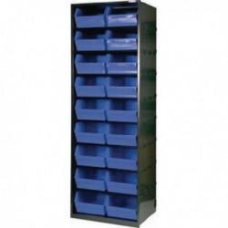 Dk.Gry/Blk Metal Bin Cupboard/18 Bins