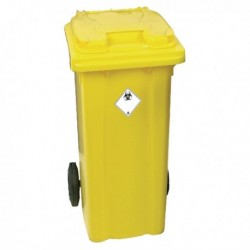 Yellow 2 Wheel Refuse Container 120 Ltr