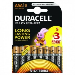 Duracell Plus Power AAA Battery 1.5V Pk8