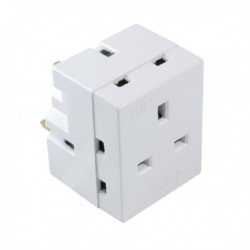 CED 3Way Adaptor Fused 13amp White WAP3W