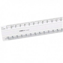 Linex Flat Scale Ruler 1 to 500 30cm Wht
