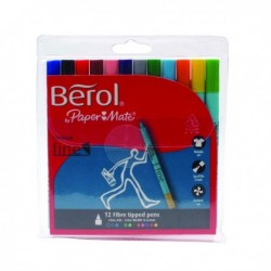 Berol Colourfine Pen Asstd W/B Ink Pk12
