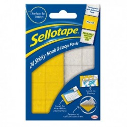 Sellotape Sticky Hook / Loop Pad Pk24