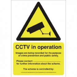 DP Act Compliant CCTV A5 Self-Adh Sign