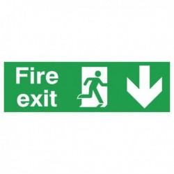 Fire Exit Arrow Down 150x450mm PVC Sign