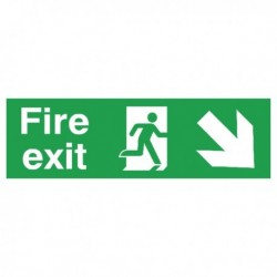 Fire Exit Arrow Down/Right 15x45cm Sign