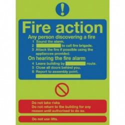 Niteglo Fire Action 30x25cm SelfAdh Sign