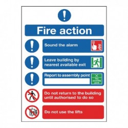 Fire Action Symbol A5 Safety Sign