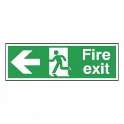 Fire Exit Lft Arrow Self-Adh Sign