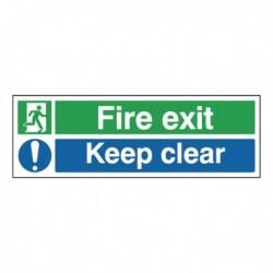 Fire Exit Keep Clear 15x45cm Sf-Adh Sign