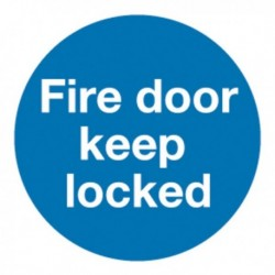 Fire Door Keep Locked 100mm Slf-Adh Sign