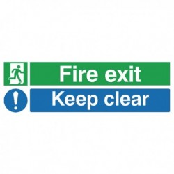 Fire Exit Keep Clear 150x450mm PVC Sign