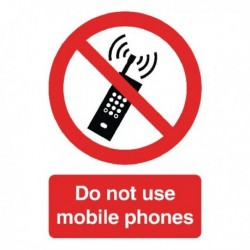 Do Not Use Mobile Phones A5 SelfAdh Sign