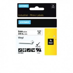 Dymo Rhino Vinyl Tape 9mm Blk/Wht 18443