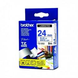 Brother Blue/White TZe Tape 24mm TZE253