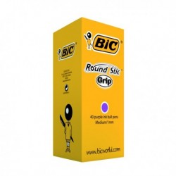 Bic Round Purple Stic Grip Ball Pen Pk40
