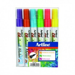 Artline Glassboard Marker Assorted Pk6