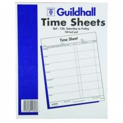 Guildhall Work Time Sheet Sat Fri Pk100
