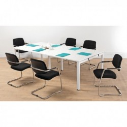 FF White 2.4M Bench Boardroom Table